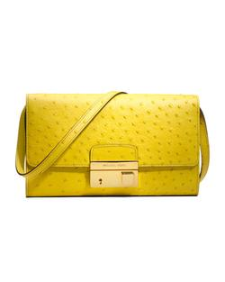 Yellow printed leather clutch bag