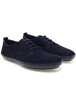 Dark blue suede shoes for men