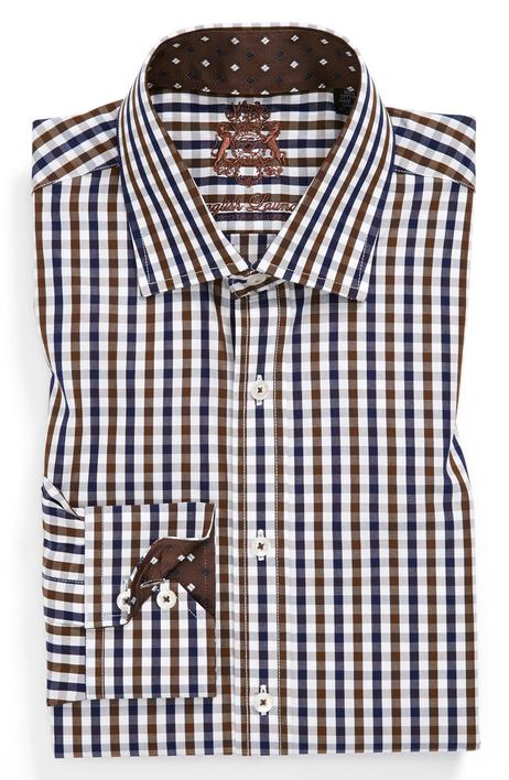 Checked cotton shirt in white and brown