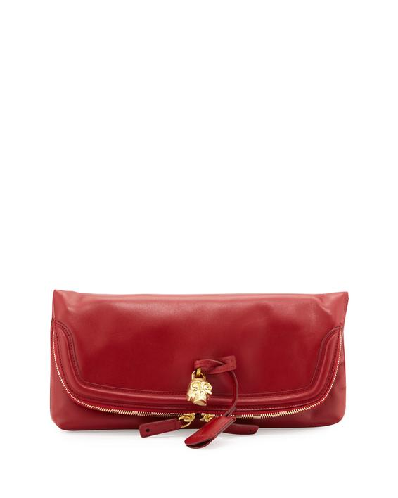Leather clutch with zipper