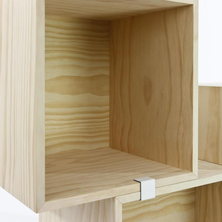 Modular wooden shelves in pine