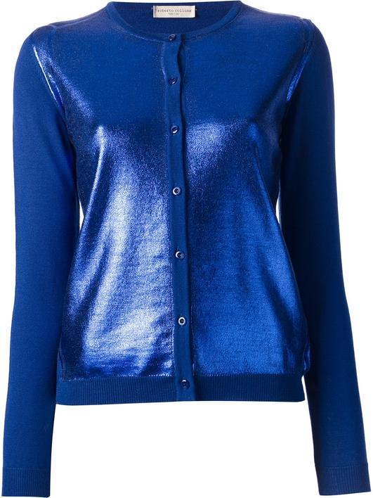 Cobalt blue shiny cardigan