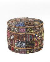 Patchwork ornamented pouf